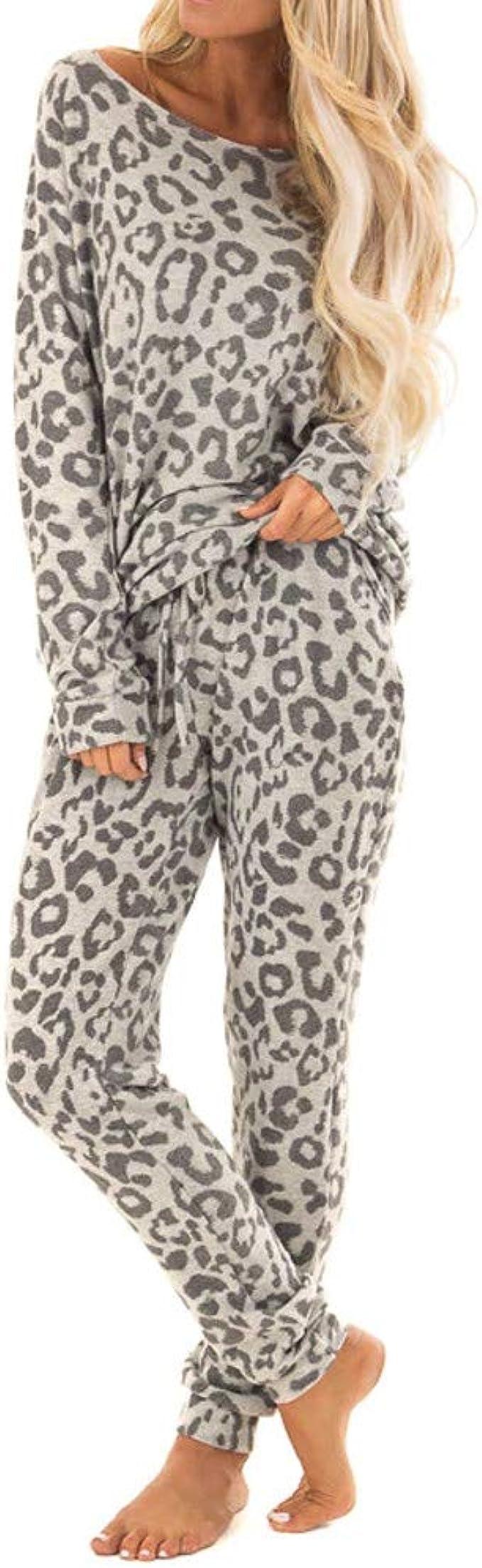 UOFOCO Leopard Print Pants Sets for Women Tracksuit Leisure Wear Lounge Wear Suit 2Pcs Gray