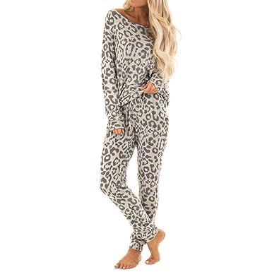 8d04d489c1 UOFOCO Leopard Print Pants Sets for Women Tracksuit Leisure Wear Lounge  Wear Suit 2Pcs at Amazon Women s Clothing store