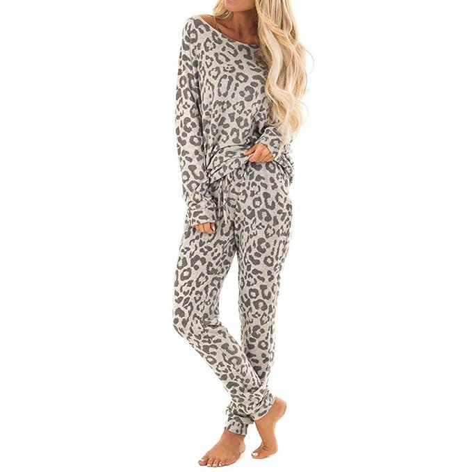 ab65e11f58 BabiQ Fashion Women Tracksuit Leopard Print Pants Sets Leisure Pajama  Loungewear 2 Piece (Gray