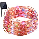 Image of GDEALER Solar String Lights 100LED 33ft Copper Wire Lights Waterproof Starry Fairy String Lights Ambiance Lighting for Outdoor Landscape Patio Garden Bedroom Christmas Party Wedding