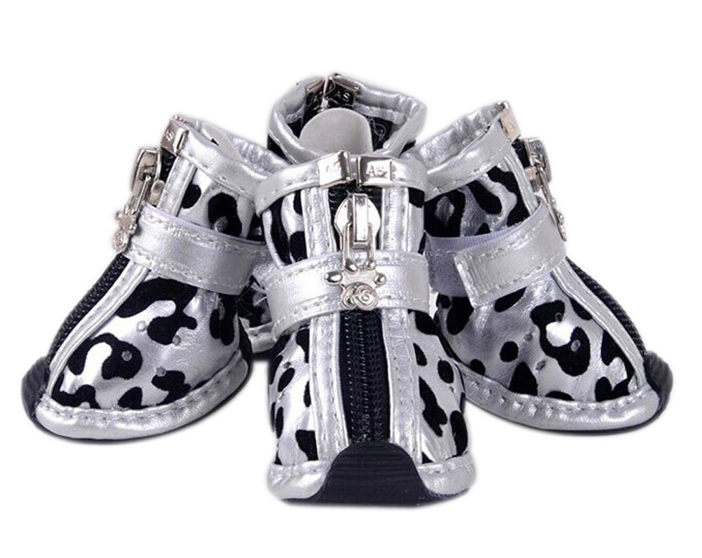 PU Non-slip Zipper Dog Boot Pet Casual Shoes, Silver Leopard Print