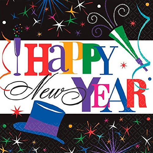 Amscan Ring in the New Year Party Luncheon Napkins (125 Piece), 6.5 X 6.5 , Multicolor