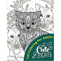 Cute Cats (Adult coloring books) (Volume 1)