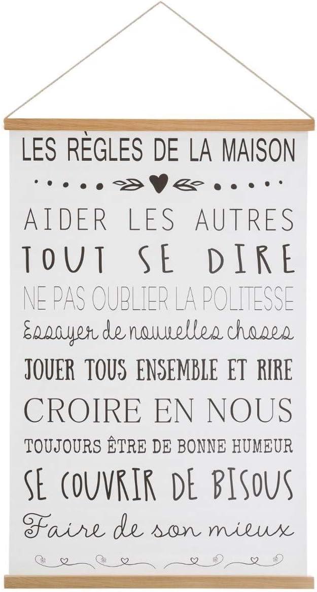 Toile imprim/ée /à Suspendre th/ème Les r/ègles de la Maison 40 x 60 cm Atmosphera
