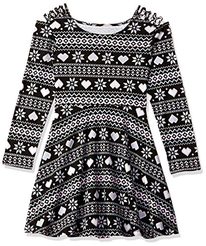 The Children's Place Big Girls Long Sleeve Pleated Dress, Black, XL (14) (Best Places For Dresses)
