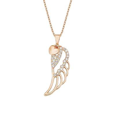 Amor Damen-Kette 42+3 cm mit Anhänger Flügel Herz 925 Silber rosévergoldet  Zirkonia weiß  Amazon.de  Schmuck 6c8b73c5da
