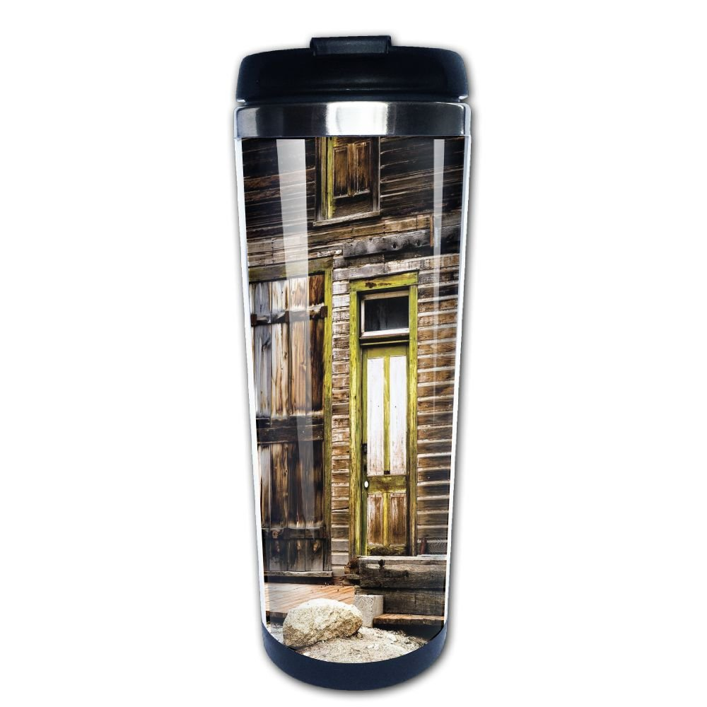 AILIKAFEE Old Wooden Plank House With Antique Door And Windows With Stones On Coffe Mug Thermal Mug With Easy Clean Lid 14-Ounce Mug