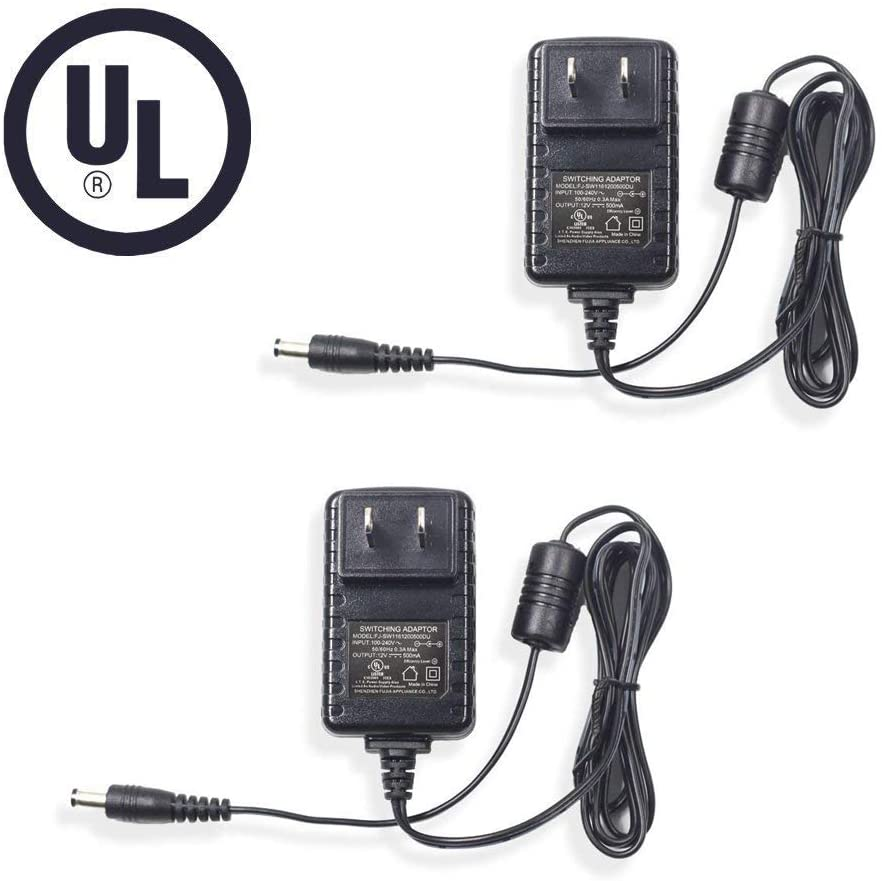 Bechol 2Pcs 12V 500mA 0.5A AC to DC Power Supply Adapter for Security CCTV Camera,LED String Light with UL Certification