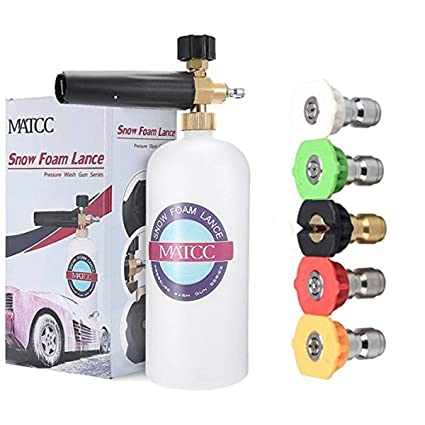 MATCC Adjustable Foam Cannon 33 fl  oz (1Liter) Bottle Snow Foam Lance with  1/4'' Quick Connector, 5 Pressure Washer Nozzles for Cleaning