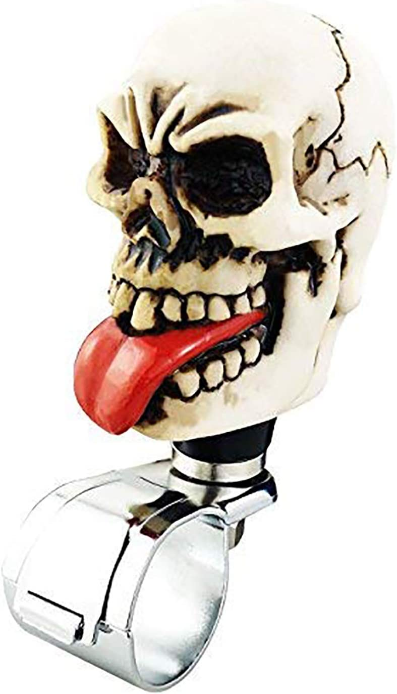 Lunsom Skull Shape Steering Suicide Spinner Big Eyes Resin Car Driving Wheel Knob Aid Turning Handle Control Grip Booster Fit Most Vehicle Without Eyeball