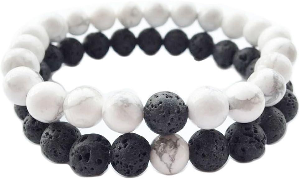 ultnice 8mm Lava Piedra Pulsera Distancia perlas pulsera Tuerca Día y día del padre regalo 1par (Negro y Blanco)