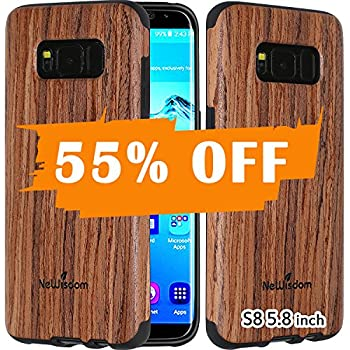 NeWisdom Galaxy S8 Case Wood Real Wooden Rubberized Case for Samsung Galaxy 8 - Soft Slim Wooden Case with Lens Protection - Sandalwood (5.8 inch, the smaller phone)