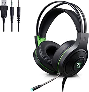 Gaming Headset, 3.5mm Wired Bass Stereo Gaming Headphones with Mic & LED Light for Laptop Computer, Cellphone, PS4 and so on- Volume Control (Black+Green)