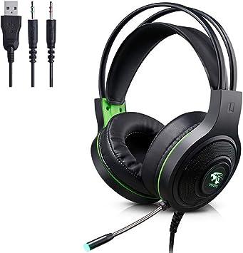 Mmhdz Auriculares para Juegos con micrófono para PS4 Xbox One PC, Auriculares con micrófono con cancelación de Ruido para Nintendo Switch, Tableta, Ordenador, Mac (Negro): Amazon.es: Electrónica