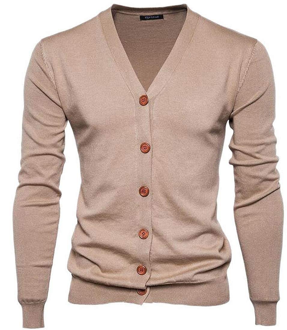 Jaycargogo Mens Long Sleeve Knitting Tunic Top Single Breasted Cardigan Khaki XS