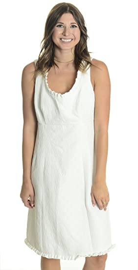 c40eb500 Donna Ricco Women's Sleeveless Ruffle Trim Shift Dress in White ...