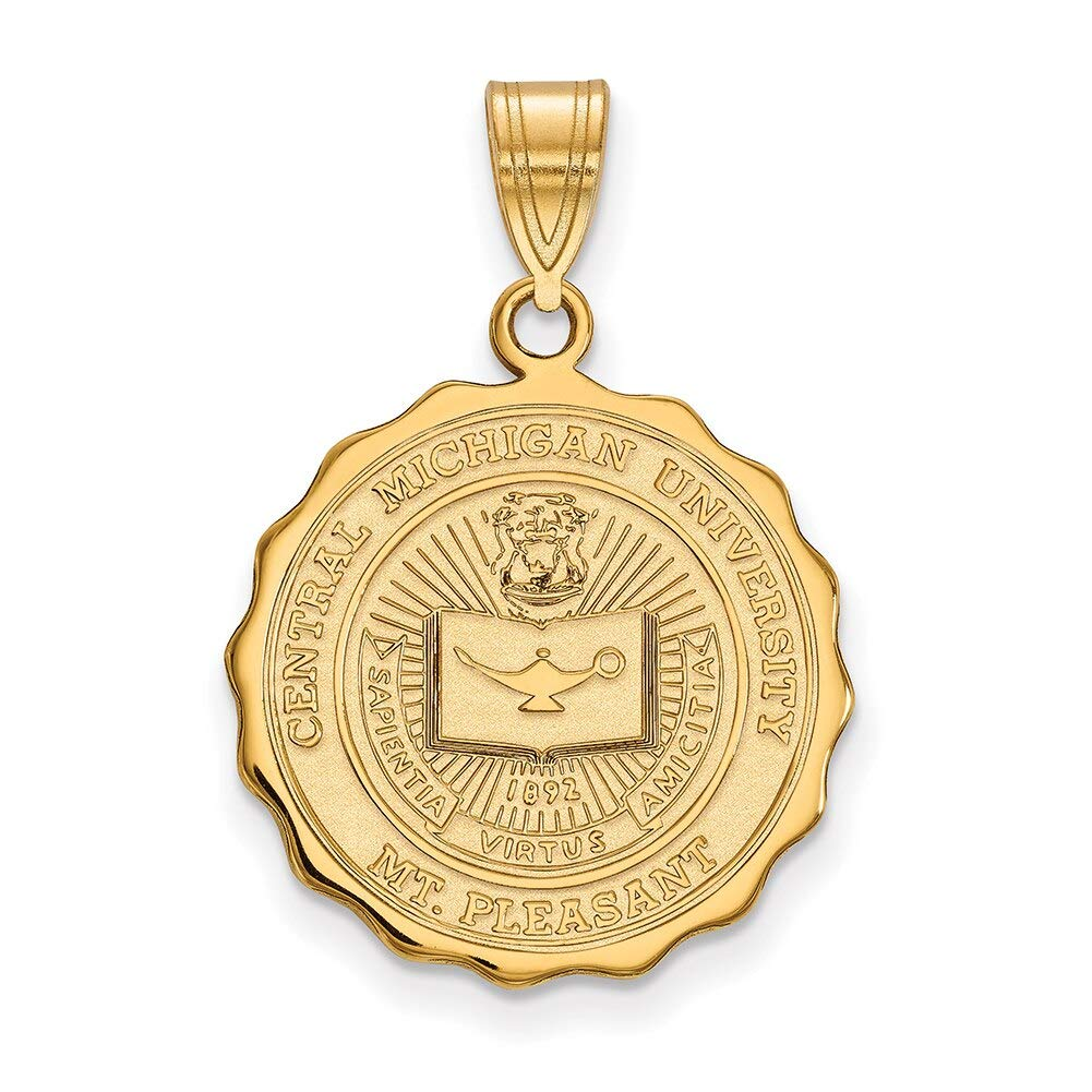 Lex /& Lu LogoArt Sterling Silver w//GP Central Michigan University Large Crest