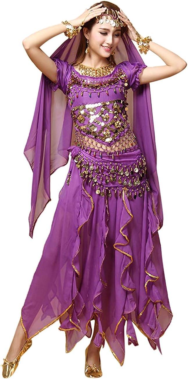 besbomig Profesional Señoras Disfraz de Danza del Vientre - 6 Piezas Manga Corta Lentejuelas Conjunto de Danza India Ropa de Rendimiento