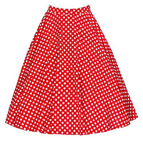 JackenLOVE t Femme Elegante Plisse Vintage Jupes de Party Cocktail Soire Fashion Imprime Haute Taille Mini Jupe Rouge1