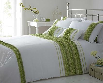 Green White Kingsize Duvet Cover Ruffles Bedding Bed Linen Set