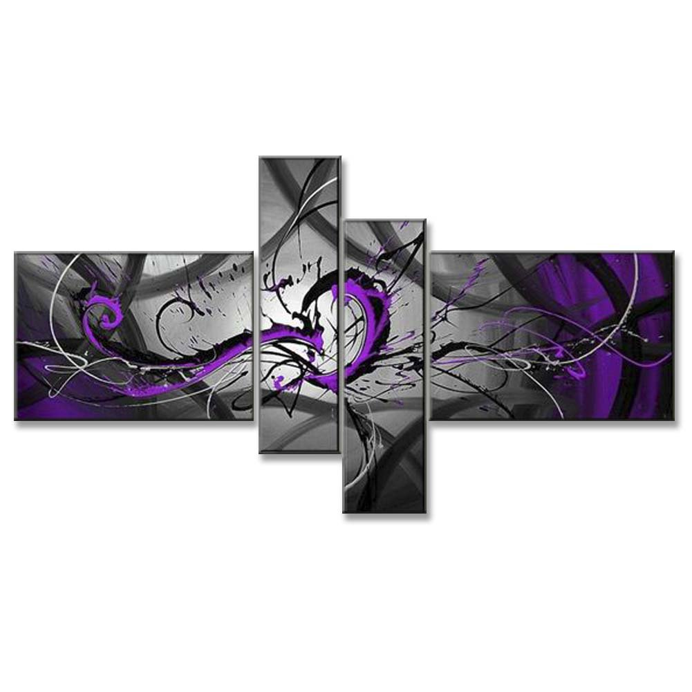Hand Painted Split Canvas Paintings Unframed 4 Pieces - 72X40 inch (183X102 cm) for Living Room Bedroom Dining Room Wall Decor To DIY Frame Home Decoration - Black Grey Purple Abstract by Neron Art