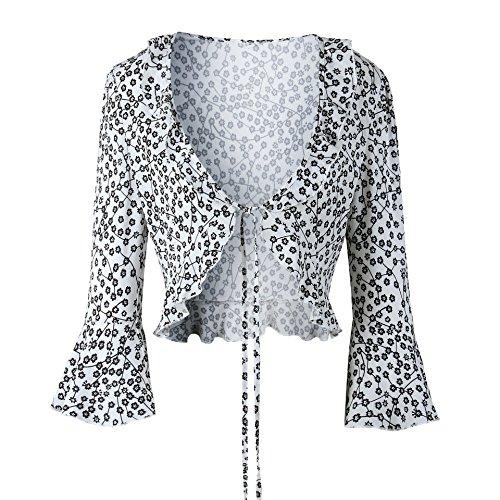 (Womens Floral Open Front Ruffle Chiffon Bolero Shrug Cropped Cardigan Blouse Top)