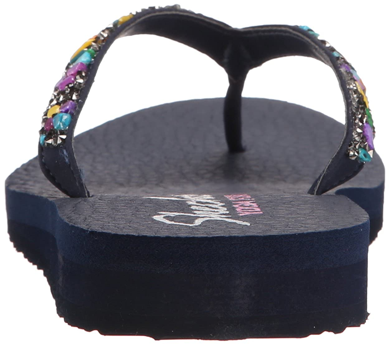 Skechers Damen Meditation Break Water Zehentrenner, schwarz Navy / Mehrfarbig