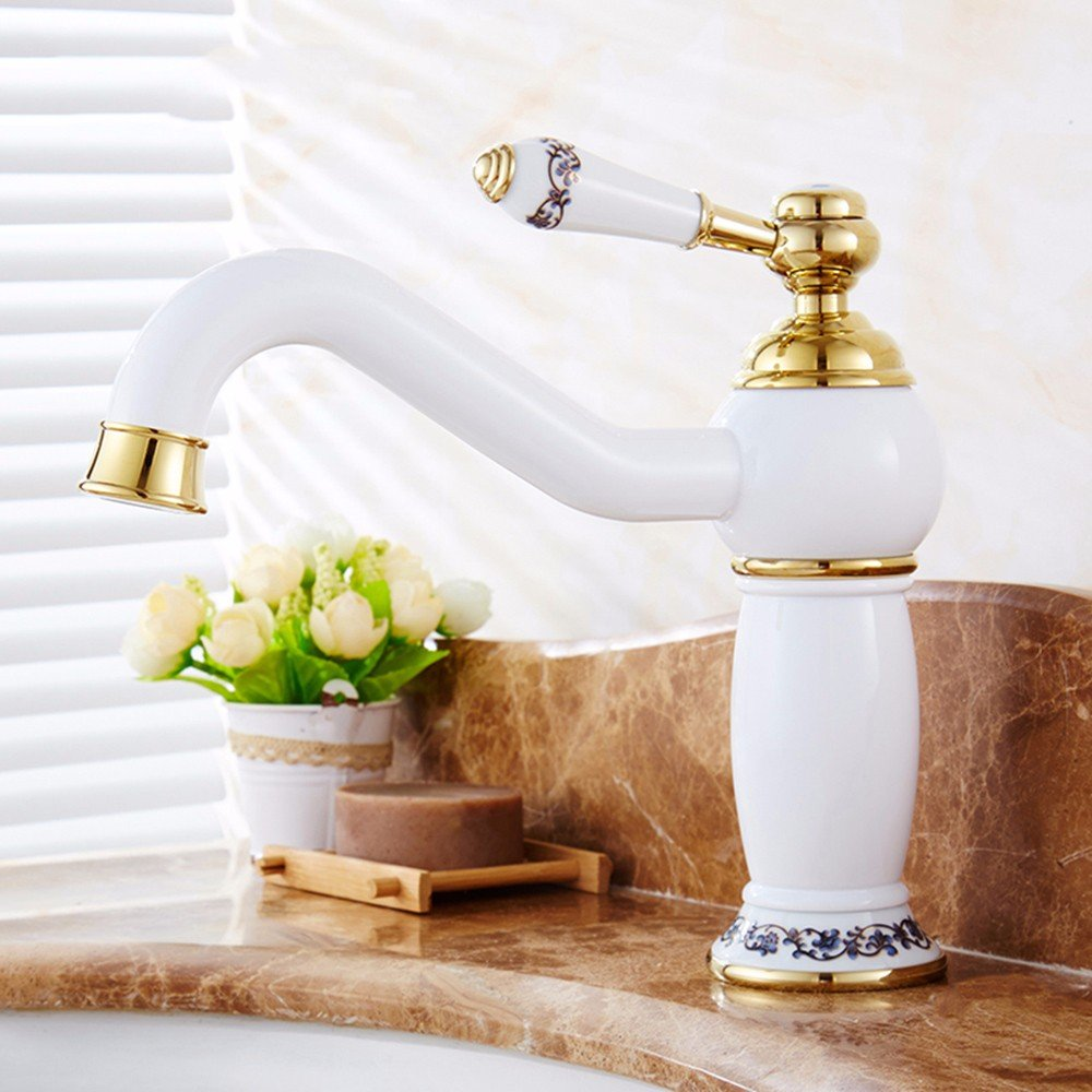 20 LHbox Basin Mixer Tap Bathroom Sink Faucet European retro style, copper, hot and cold, the basin, single handle, plus high, Single Hole Sink mixer 7