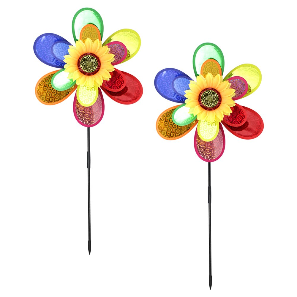 Com-Four® wind spinners, pack of 2, pinwheel flower, a great feature for your garden Com-Four® wind spinners
