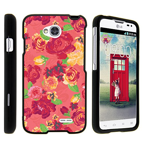 LG Ultimate 2 Phone Case, Full Body Armor Snap On Hard Case Protector Cover with Customized Design for LG Optimus L70 MS323, LG Optimus Exceed 2 VS450PP, LG Realm LS620, LG Ultimate 2 L41C (Metro PCS, Verizon, Boost Mobile) from MINITURTLE | Includes Clear Screen Protector and Stylus Pen - Fruity Rose Pattern (Lg Realm Phone Boost Mobile)