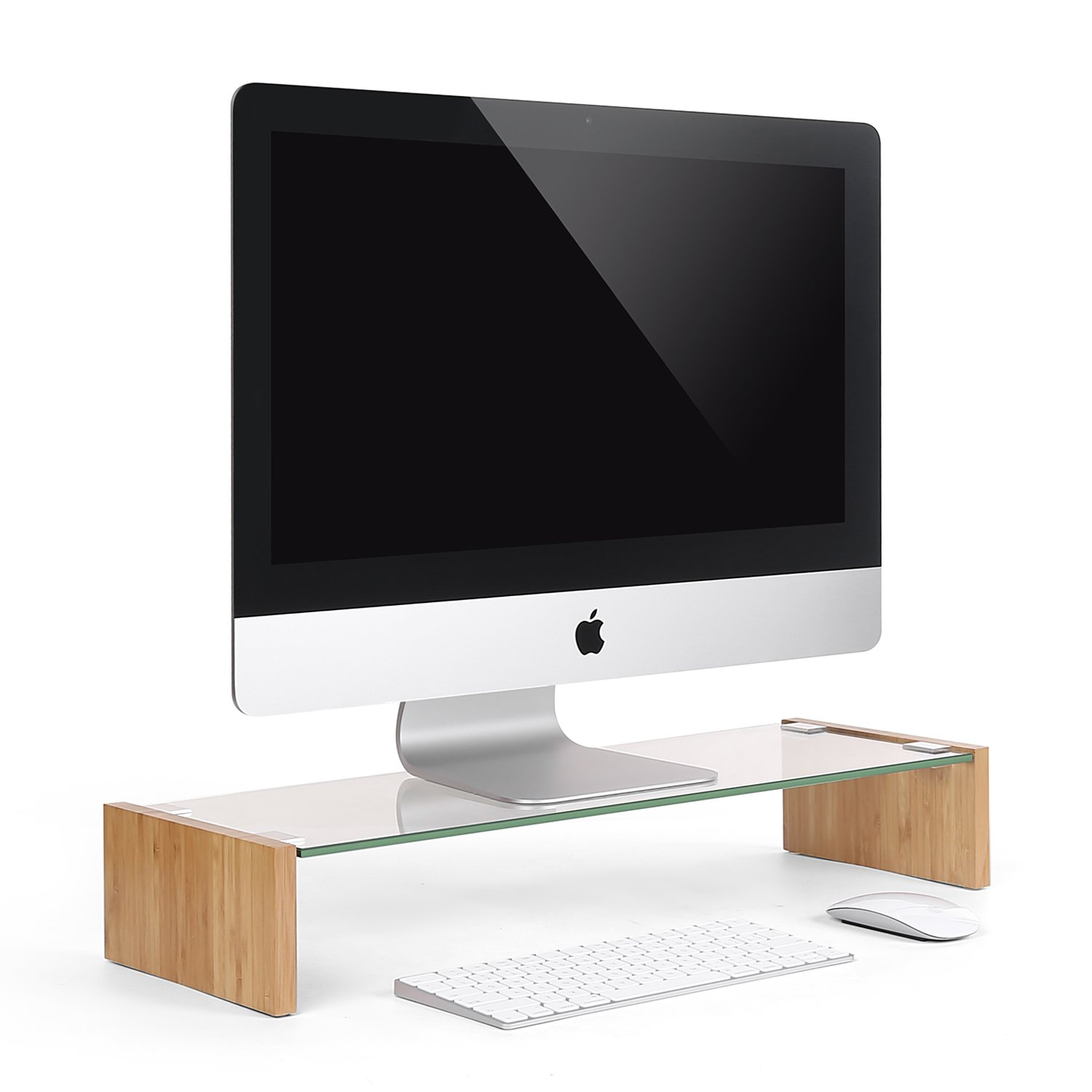 SACVON Tempered Glass Monitor Stand Riser for Computer,iMac,Laptop,Printer,Xbox One. Save Space Desktop Stand-Clear Bamboo