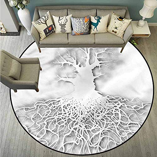 Round Carpet,Tree of Life,Leafless Oak Tree Root,Easy Clean Rugs,5'3
