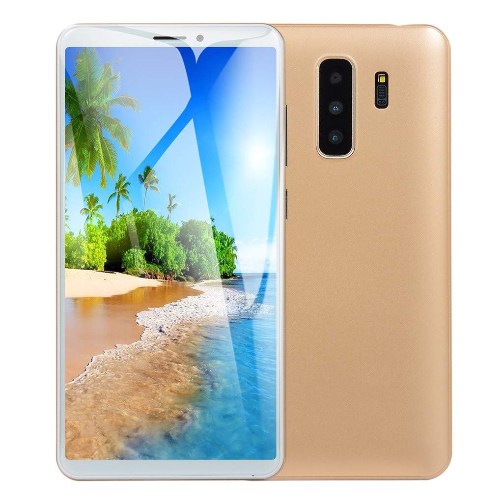 5.8 inch Unlocked Smartphone Dual HD Camera Android 6.0 1G+4G Extended Memory 32G GPS WiFi 2000Mah Battery 3G Call Mobile Phone (Gold)