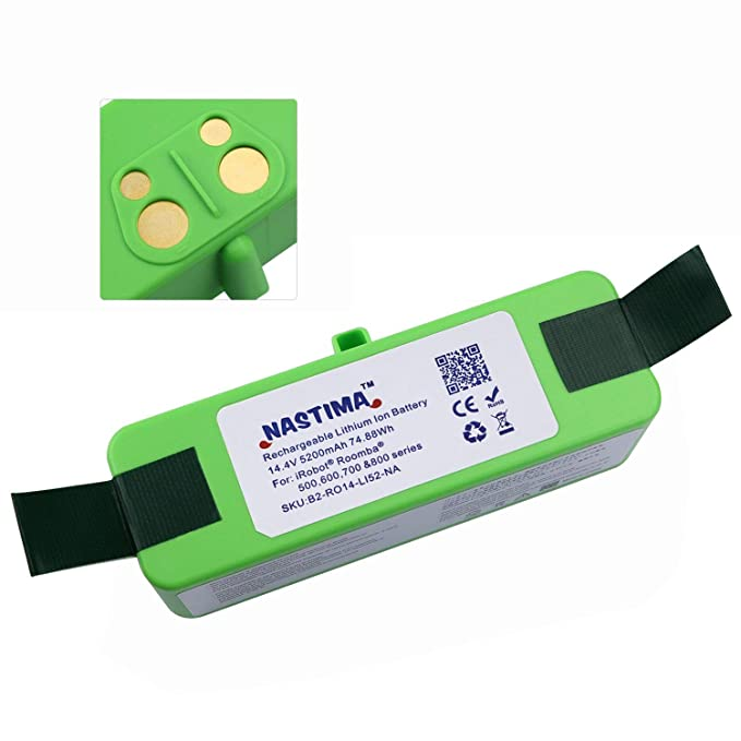 NASTIMA Batería de Litio de 14.4V 5200mAh Larga Vida de 800 ciclos para iRobot Roomba 500 510 530 531 533 540 555 560 570 580 581 595 600 610 620 625 ...