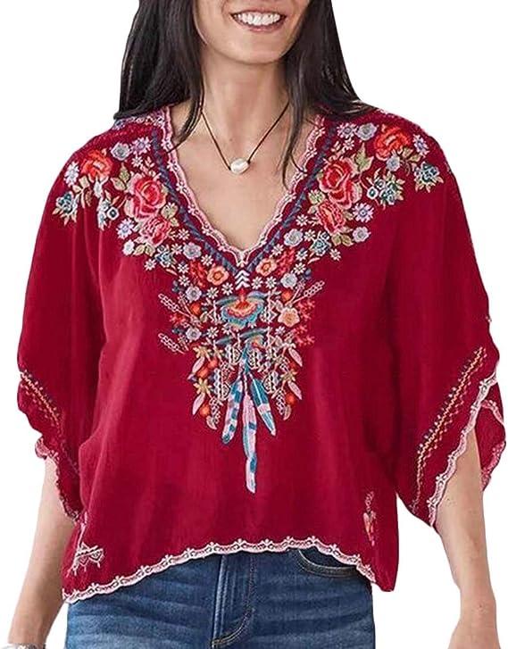 dahuo Blusa Bohemia Mexicana con Cuello en V de Verano para Mujer Rojo Rosso S: Amazon.es: Ropa y accesorios