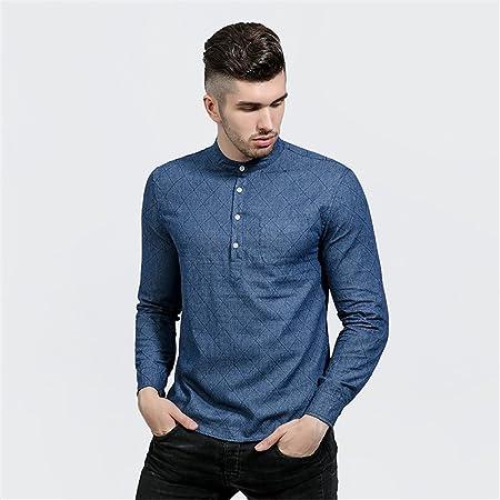 Hombres de la Moda de Cuello de Camisa de Mezclilla Denim ...