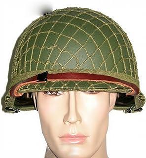 WU American World War II Army Fan M1 Casco de Casco de Doble Capa Casco de Red Casco Táctico CS Casco de Campo,Verde,Un tamaño Un tamaño