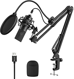 Fifine USB Streaming Microphone Kit, Cardioid Condenser Podcast Mic Bundle with Adjustable Metal Arm Stand Pop Filter for PC Mac Computer, Ideal for Studio Vocal, Recording YouTube Video, Gaming-K780A