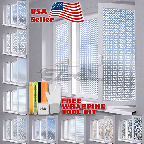 "Free Tool Kit EZAUTOWRAP Flower Frosted Glass Peel And Stick Window Film Home Bedroom Bathroom Privacy Waterproof Sticker Decal - 24""X48"" (2FT X 4FT)"