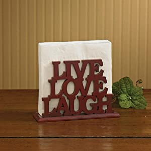 "Park Designs Word Play Red Wood Luncheon Napkin Holder""Live Laugh Love"""