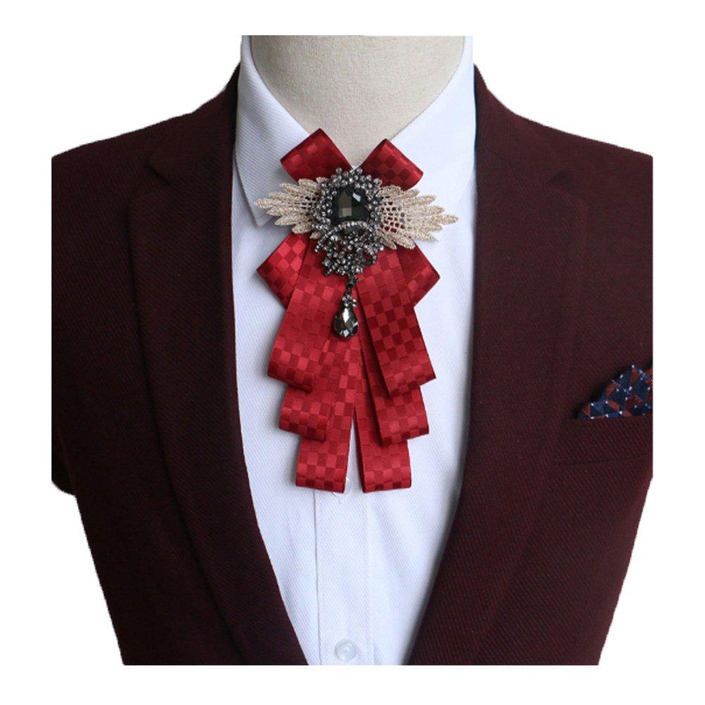 Fuerjia Wedding bow tie Classic Party Pair Bowknot Necktie wedding bridegroom best man Host gift (H01-Wine red plaid)