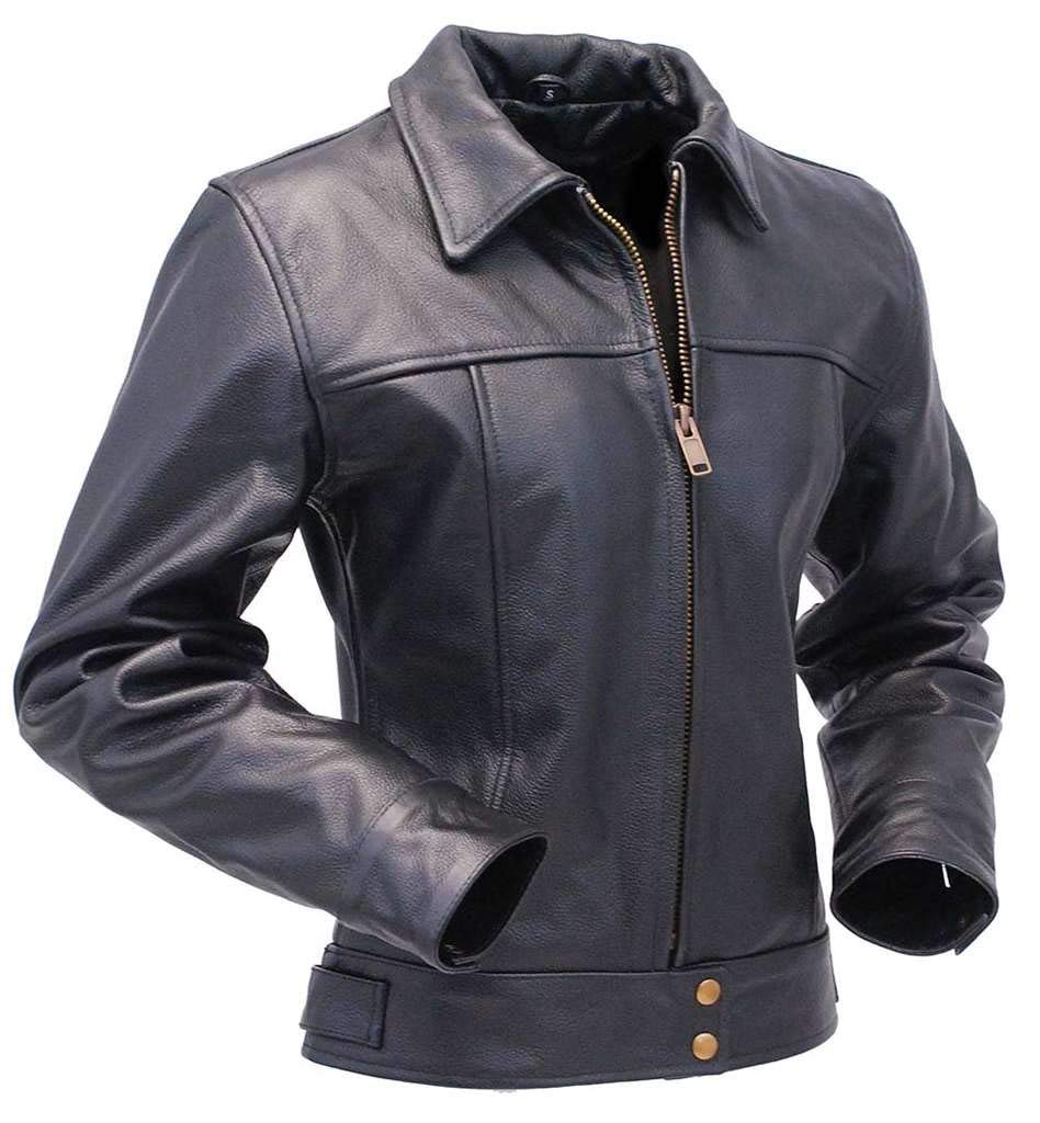 Jamin' Leather - Tough Lady Heavy Cowhide Leather Jacket #L1401192ZK