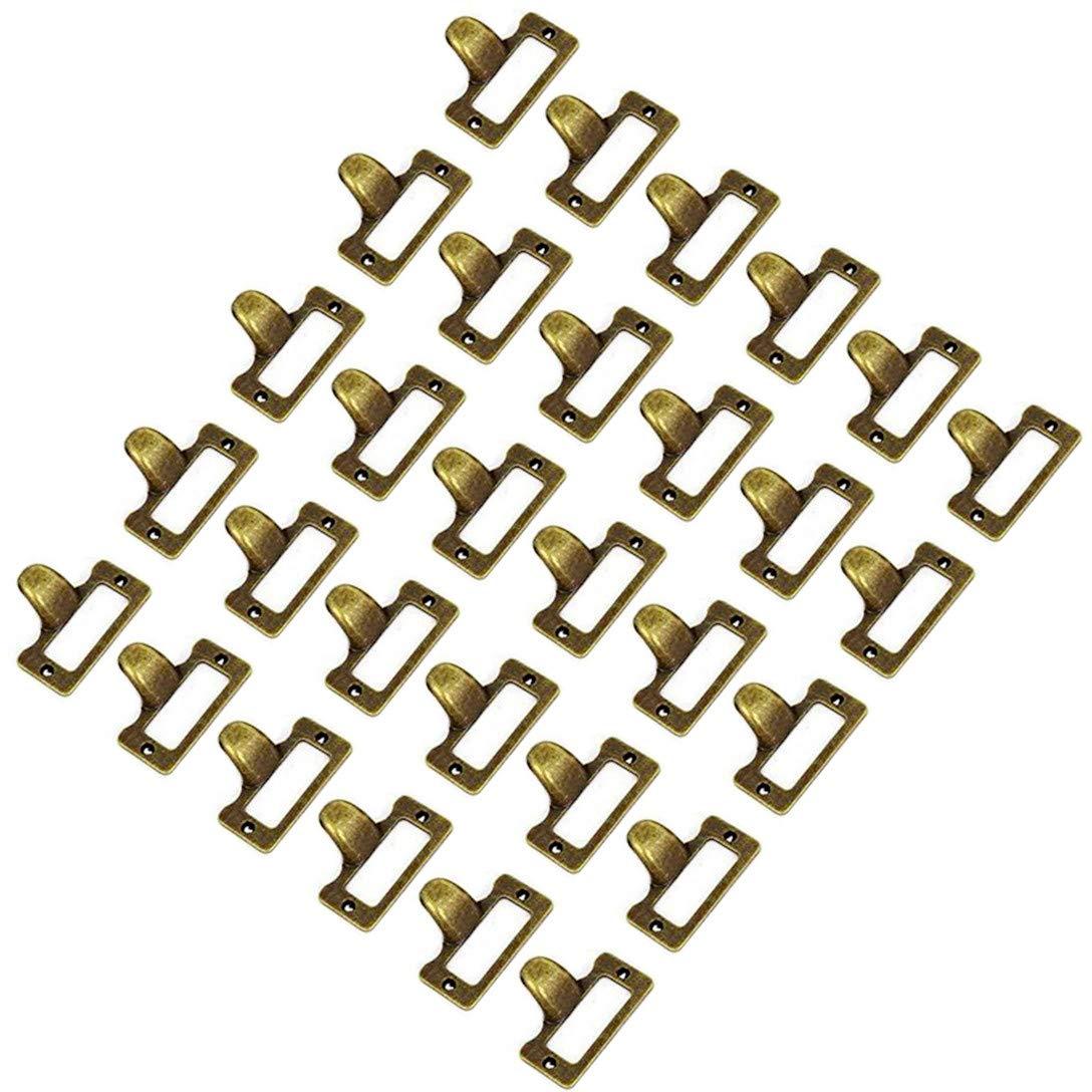 WEICHUAN 30 Pieces 48mm38mm Card Holder Drawer Pull/label holders/Label Frames Card/Label Holder -Vintage Drawer Box Case Cabinet Cupboard Carpenter Repair decoration Hardware with screws