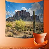 L-QN Popular art tapestry Famous Canyon Cliff with Dramatic Cloudy Sky Southwest Terrain Place Room bedroom living room dormitory decoration32W x 32L Inch