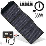ECO-WORTHY 120 Watts Cargador de panel solar plegable con controlador de carga Salida de CC Cargador portátil al aire…
