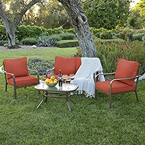 Best Choice Products 4 Piece Cushioned Patio Furniture Set W/ Loveseat, 2 Chairs, Coffee Table Red