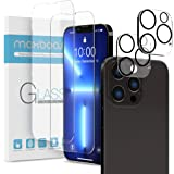 Maxboost 2 Pack Screen Protector Compatible for iPhone 13 Pro Max [6.7 inch] + 2 Pack Camera Lens Protector Tempered Glass Fi