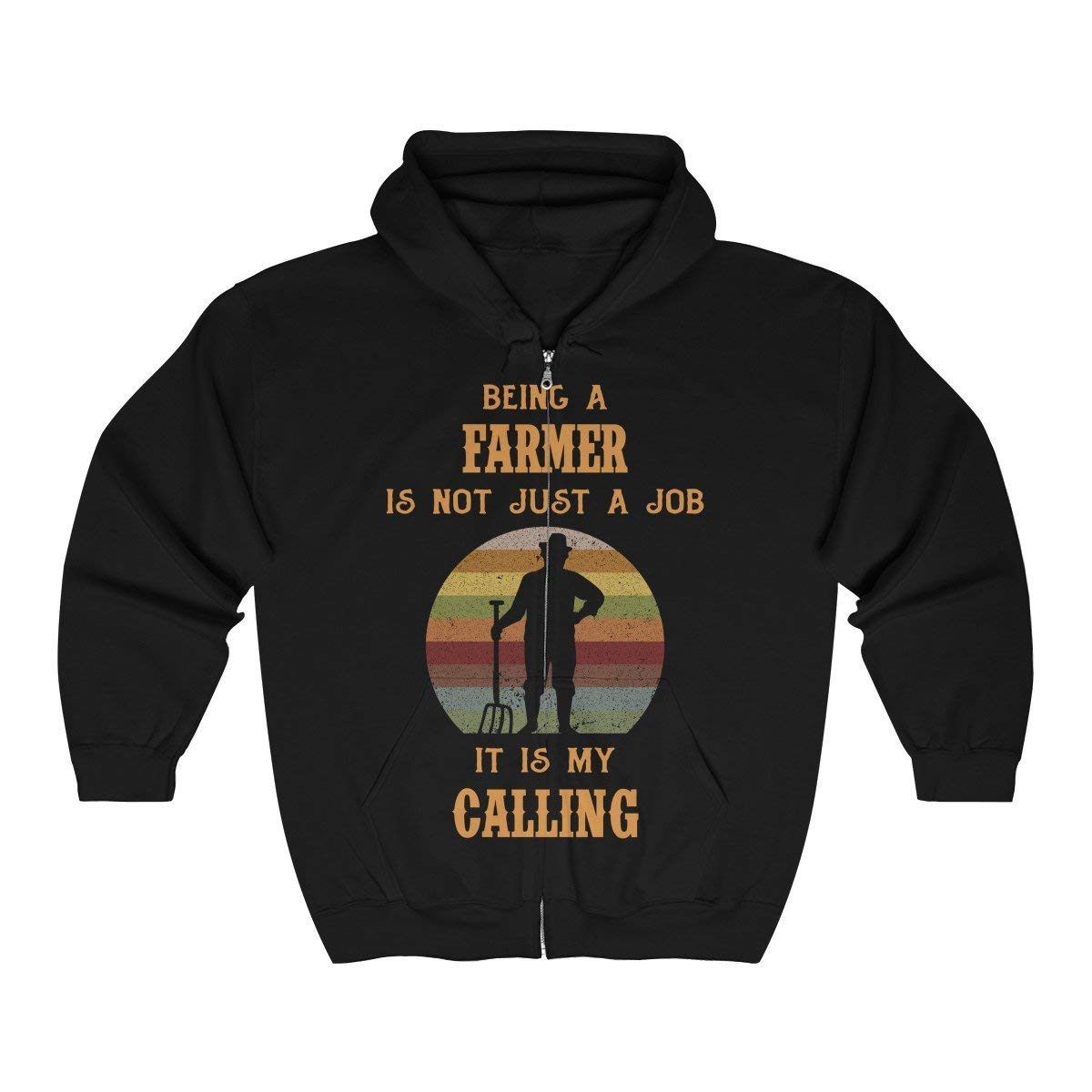 Being a Farmer is not just a Job Retro Vintage Zip Hooded Sweatshirt