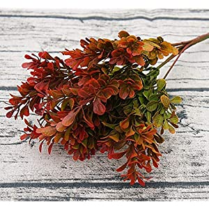 ShineBear 7 Branch Rhododendron Leaves Artificial Grass Decoration Plant Plastic Fake Flowers Simulation Eucalyptus Leaf for Garden - (Color: Orange) 49