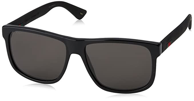 3932107cfa0 Amazon.com  Gucci GG 0010 S- 001 BLACK GREY Sunglasses  Gucci  Clothing